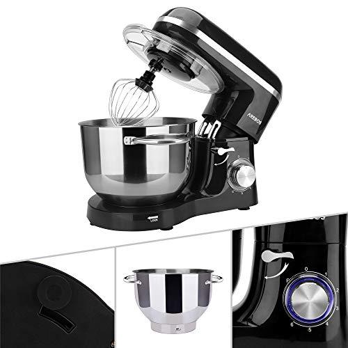 Arebos Küchenmaschine 1500W mit 6L Edelstahl-Rührschüssel, Rührbesen,...