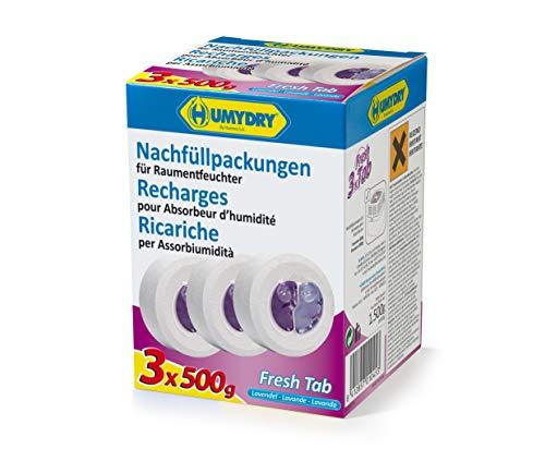 HUMYDRY Nachfüllpackungen TAB 3x500g Lavendel für Luftentfeuchter ohne...