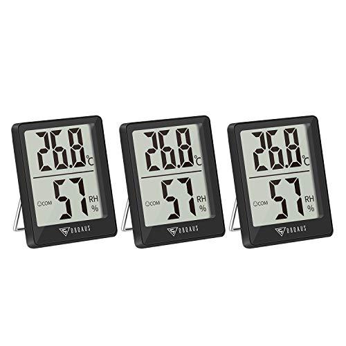 DOQAUS Digital Hygrometer Innen, 3 Stück Thermo-Hygrometer Innen...