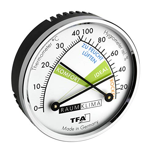TFA Dostmann Thermo Analoges Thermometer Hygrometer mit Metallring,...