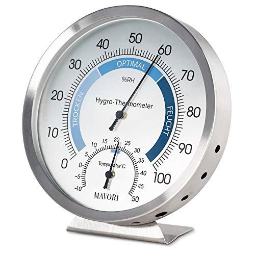 MAVORI® Thermometer Hygrometer innen analog - Luftfeuchtigkeitsmessgerät...